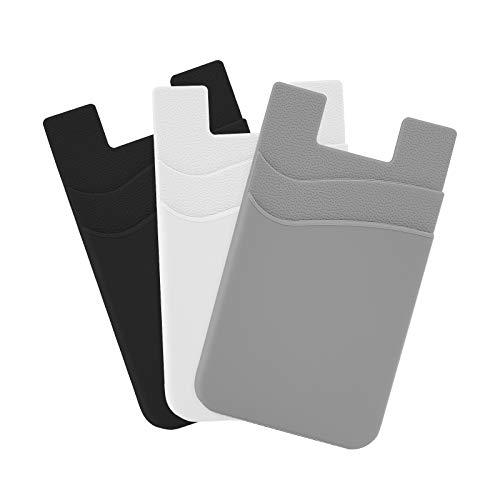 SHANSHUI Soporte para Tarjetas de teléfono móvil, de Silicona, Universal, para Tarjetas, 3 Unidades (Negro/Blanco/Gris)
