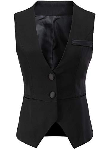 "Vocni Women V-Neck Business Slim Fit Skinny Button Down Suit Dressy Vests Waistcoat,Black,US XL (Bust 46.45""),Tag 7XL"