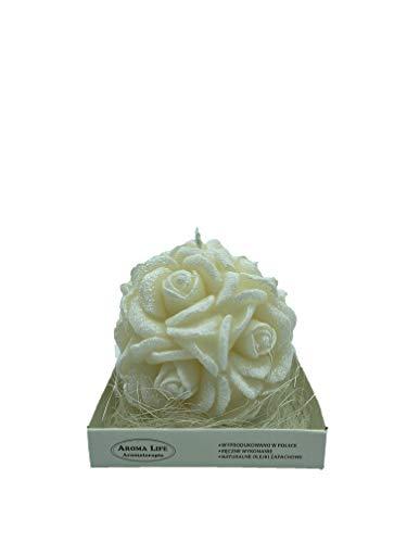 Kerze Rosenkugel groß (weiß)