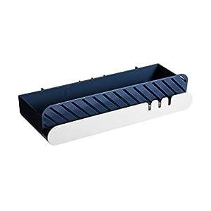 PPTS Estante de baño libre perforador de pared para colgar en la pared del lavabo rack de baño estante de almacenamiento de pared, Rectangular Azul, 29.3*11.2*6.5cm