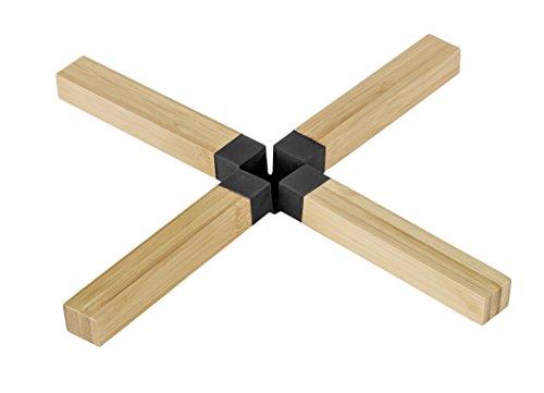 Wenko 54520100 Topfuntersetzer Kreuz Bambus, schwarz, 25,5 x 1,7 x 25,5 cm