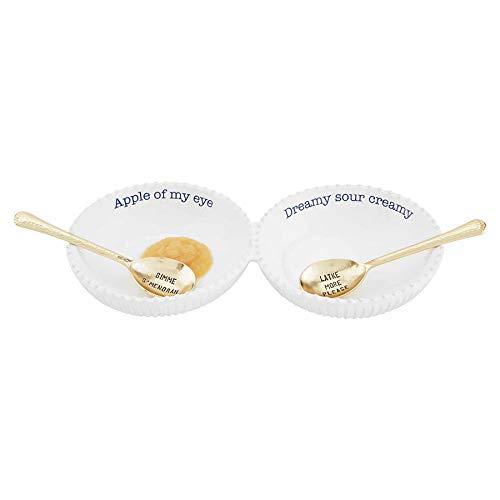 Mud Pie Hanukkah Double Dip Set, server 1 3/4' x 11' | spoon 5 3/4', White