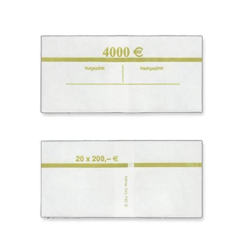 Banderolen für Euro Geldscheine je 50x (200 € Banderole) Geldbanderole Papier für Geldbündel Fassungsvermögen je 20 Scheine
