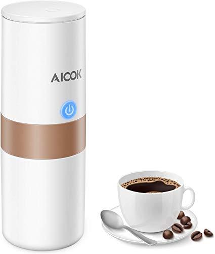 Macchina Caff Portatile Aicok, Mini Elettrica Caffettiera per Caff Espresso con Filtro (Caff Macinato/Capsula Compatibile) per Auto, Casa, Ufficio, Campeggio, ecc. (150 ML, Bianco Avorio)