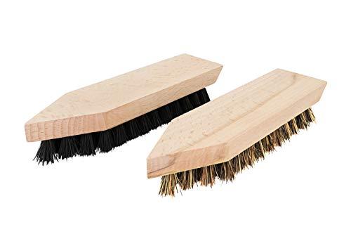 TIMELEOS Schmutzbürste aus Naturhaar für optimale Schuhpflege   Glanzbürste   Schuhputzbürste   Schuhputzzeug   Schuhpolierbürste   Polierbürste   Kleiderbürste (2 Bürsten [hell & dunkel])