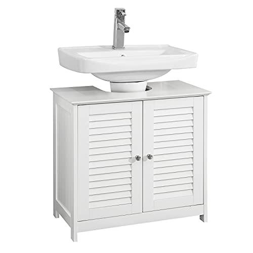 SoBuy FRG237-II-W Mueble para Debajo del Lavabo Armario de Baño de Suelo 2 Estante y 2 Puertas Correderas 57 * 35 * 58 cm ES