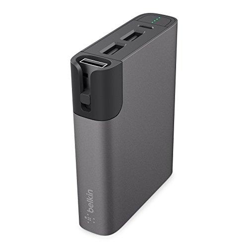Belkin Premium MixIt Metallic RockStar Power Bank (inkl. Lightning- und Micro-USB-Kabel, 2 USB Anschlüsse, 6600mAh, Battery Pack für Tablets und Smartphones) grau