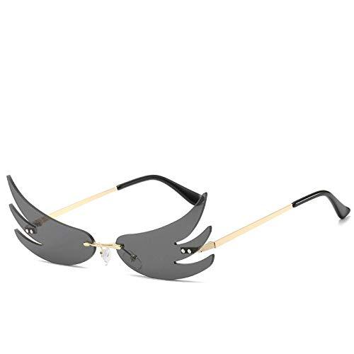 HAOMAO Gafas de Sol de ala sin Montura de Moda Colorida para Mujer, Llama espejada única Gris