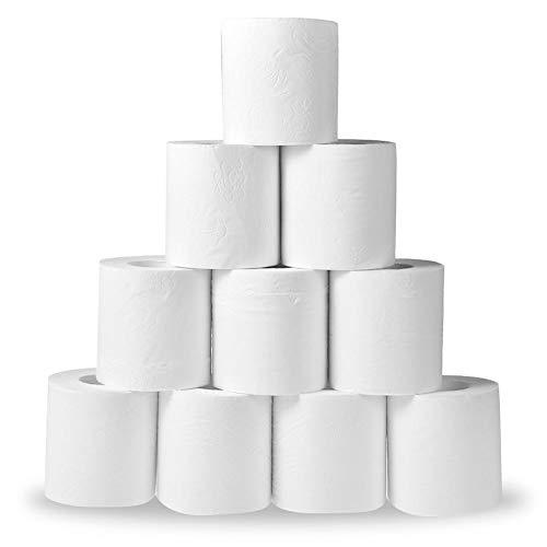 Eruditter Toilettenpapier 3-lagig Großpackung, 1/6/10 Rollen Küchenrollen Und Toillettwn Papier Hergestellt, Klopapier Campingtoilette Papiertuchrolle Weiß, Für Home Badezimmer Toilette