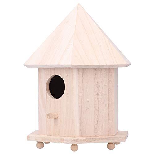 XINL Caja Nido para pájaros, Seis Soportes de Soporte Casita para pájaros Duradera de Madera Natural, no es fácil de comerse Las polillas Dulce hogar en Interiores para Jardines al Aire Libre