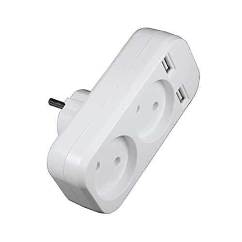 SPFCJL Adaptador de Enchufe del zócalo USB con la Tira de alimentación de Doble Enchufe 2 Enchufe de la UE, 5V 2A Pared múltiple portátil portátil 2 Puerto USB Inteligente Inicio