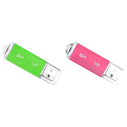 【セット買い】シリコンパワー USBメモリ 16GB USB3.1 & USB3.0 ヘアライン仕上げ 永久保証 Blaze B02 グリーン SP016GBUF3B02V1NJB & USBメモリ 32GB USB3.1 & USB3.0 ヘアライン仕上げ 永久保証 Blaze B02 ピンク SP032GBUF3B02V1PJB
