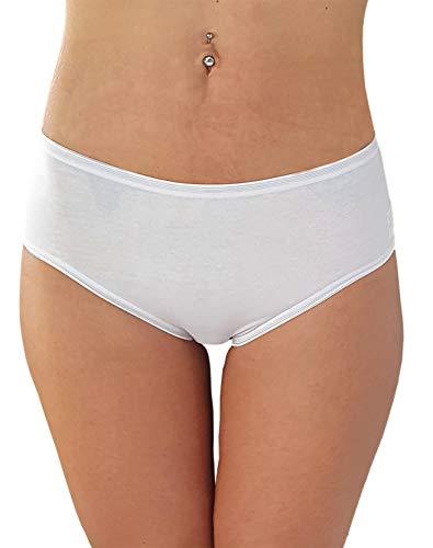 Cotonella Slip Midi Donna in Cotone Elasticizzato Art. 3940 - Confezione da 6 Pezzi - Colori Bianco E Nero - 6 Pezzi Bianco 6