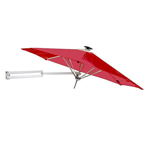 MLTYQ Parasols 8ft / 250cm Wall-Mounted Garden with Solar LED Lights - Outdoor Patio Umbrella with Tilt Adjustment, Wine Red