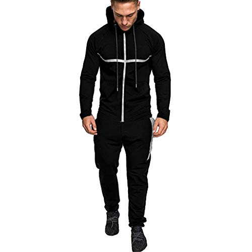 Find Bargain Men's Athletic Tracksuit Set Casual Full-Zip Jogging Hooded Sweatsuits Jacket & Activewear Pants Sports Suit(Black,Medium)