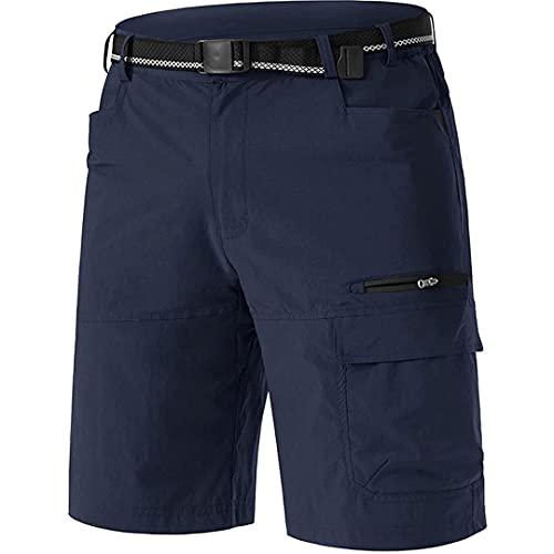 TN-KENSLY Pantalones Cortos Caza tácticos Militares Ripstop con Bolsillos con Cremallera para Senderismo al Aire Libre Secado rápido para Hombres Navy XXL