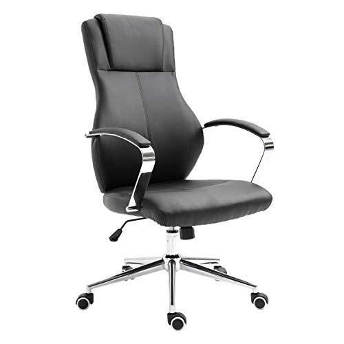 SVITA Mellow Bürostuhl Drehstuhl hochwertig verchromt Armlehnen Höhenverstellung Racing-Stuhl Chefsessel (Schwarz, Lederimitat)