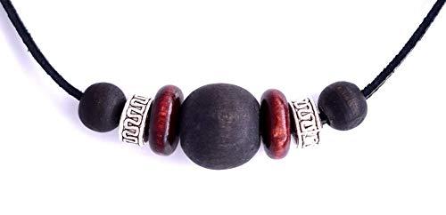 Perlenkette – Schöne natürliche Perlen-Halskette für Herren – dunkel mystische Serengeti Surfer Natur Erde Design – Geschenkbox