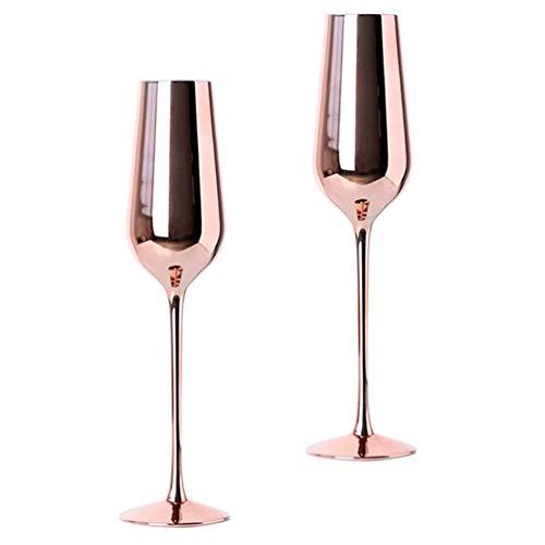 Hemoton 2 Stück Stiel Weingläser Roségold Champagner Flöten Moderne Trinkbecher Trinkglas Glasgeschenke Hochzeit 2021 Silvester Weihnachten Party Liefert