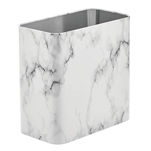mDesign rechteckiger Mülleimer – kompakter Abfalleimer für Bad, Büro und Küche mit ausreichend Platz für den Müll – Papierkorb aus Metall – marmorfarben