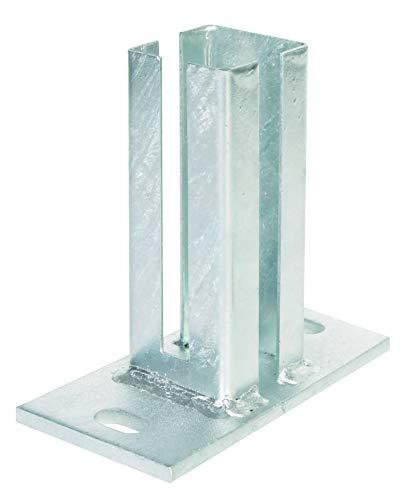 GAH-Alberts 685423 Pfostenträger für Eckpfosten für Doppelstabmatten | zum Aufschrauben | feuerverzinkt | Platte 150 x 80mm | für Pfosten 60 x 40 mm