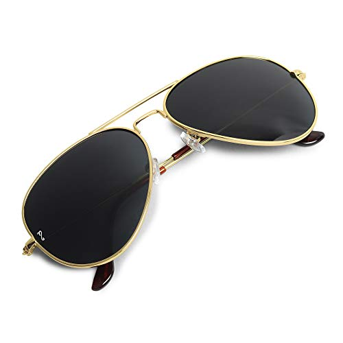 Campeon® Aviator UV 400 Protection Golden Frame Black Glass Stylish Sunglasses for Men and Women with Attractive Case