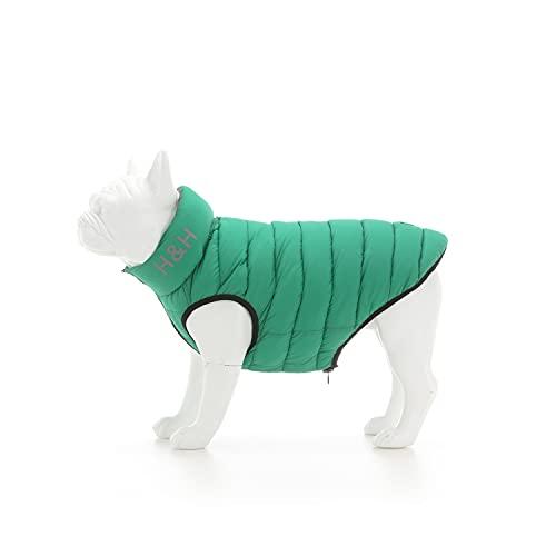HUGO & HUDSON Chaqueta para perro Puffer – Ropa y accesorios para perros reversible impermeable abrigo de perro con agujero de fijación para collar – Verde oscuro y gris – M40