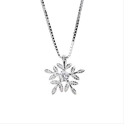 LKLFC Collar Mujer Collar Hombre Collar Temperamento Coreano Dulce 925 Joyas Cristal Circón Copo de Nieve Collares Pendientes Femeninos 45 Cm con Cadena Collar Colgante Niñas Niños Regalo