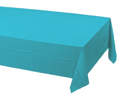 Creative Converting Touch of Color Plastic Table Cover, 54 by 108-Inch, Bermuda Blue