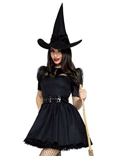 Leg Avenue 3 Piece Bewitching Witch Set with Hat-Sexy Vintage Pin Up Halloween Costume for Women, black, Medium
