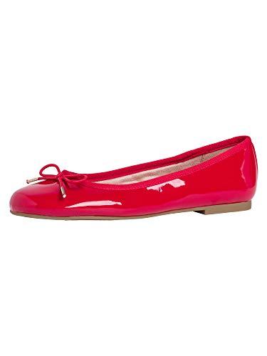 Tamaris Damen Ballerinas 22101-24, Frauen KlassischeBallerinas, Business geschäftsreise geschäftlich Flats elegant,Chili PATENT,38 EU / 5 UK