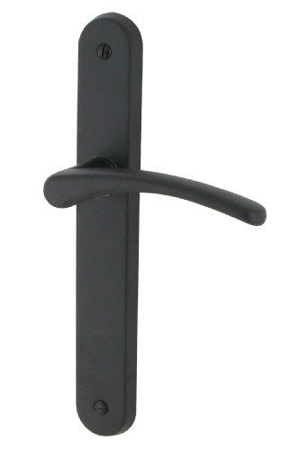 DT 2000 701910 - Tirador para puerta sobre placa cluses (aluminio mate, acero, sin ojo), color negro