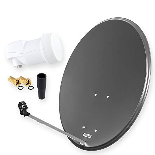 HD Digital SAT Anlage 80cm Spiegel Schüssel Anthrazit + Single LNB EIN Teilnehmer zum Empfang von DVB-S/S2 Full HD 3D Ultra HD (UHD) Signale + Stecker Gratis dazu im Set