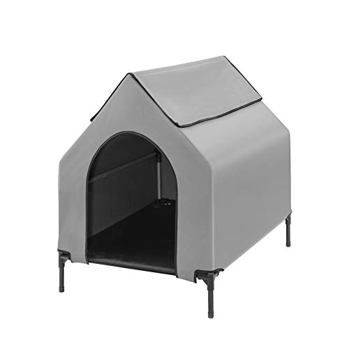 Fit Choice Elevated Dog House, Portable Dog House Crate for Indoor & Outdoor, Water Resistant Breathable 600D PVC W/ 2x1 Textilene Bed & 1x1 Textilene Window, Extra Carrying Bag (Medium)