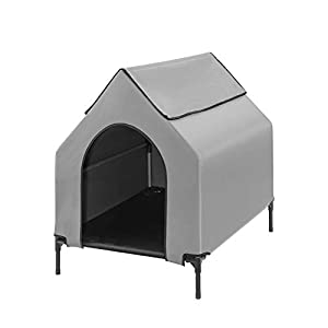 Fit Choice Elevated Dog House, Portable Dog House Crate for Indoor & Outdoor, Water Resistant Breathable 600D PVC W/ 2×1 Textilene Bed & 1×1 Textilene Window, Easy to Assemble, Extra Carrying Bag