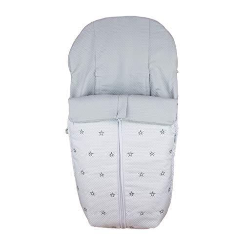 Rosy Fuentes - Saco Silla de Paseo Universal - 10 x 50 x 60 cm - Color Blanco Gris - Poliéster y Algodón - Equipado para ser Ajustado - Saco Carrito Bebé de Invierno