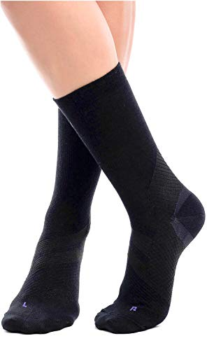 ZaTech Merino Compression Socks, Plantar Fasciitis Sock, Light Micro Crew. Heel, Ankle, Arch, Achilles Support. Increase Blood Circulation, Reduce Swelling, Foot Pain Relief. (Black, Medium)