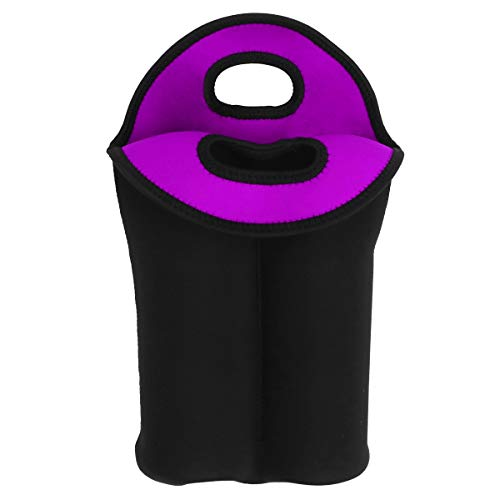 ABOOFAN Funda para botella de vino tinto Bolsa de regalo a prueba de golpes para botella de vino protector de botella de vino para el hogar Hotel (dos ranuras, negro y morado)
