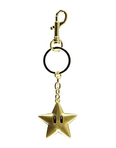 Difuzed Super Mario Star Metal Keychain Llavero, Oro, Un tamaño para Hombre
