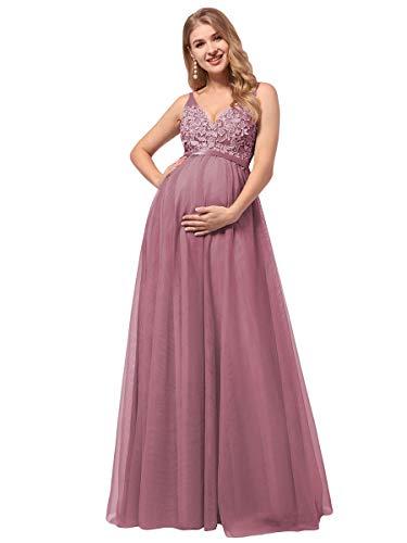 Ever-Pretty Premamá Vestido de Cóctel Largo para Mujer Embarazada Apliques Tul de Maternidad Apoyos De Fotografía Orquídea 42