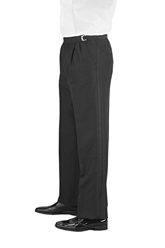 Neil Allyn Man's Pleated Front, Adjustable Waist, Tuxedo Pants - 43R Black