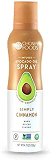 Chosen Foods Simply Cinnamon Avocado Oil Spray 4.7 oz, Non-GMO, 500° F Smoke Point, Propellant-Free, Air Pressure Only for High-Heat Cooking, Baking and Frying