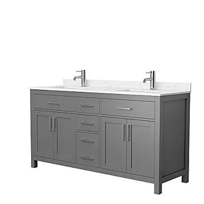 Beckett 66 Inch Double Bathroom Vanity in Dark Gray, Carrara Cultured Marble Countertop, Undermount Square Sinks, No Mirror