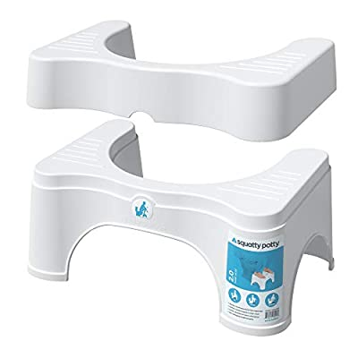 """Squatty Potty The Original Bathroom Toilet Stool - Adjustable 2, Convertible to 7"""" or 9"""" Height, White by Squatty Potty LLC"""