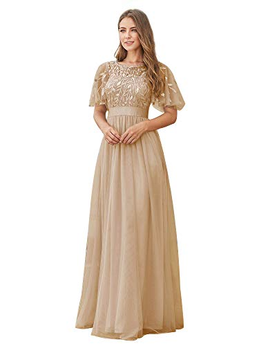 Ever-Pretty Women's Elegant Embroidery Short Sleeve Wedding Guest Dress Champagne US6
