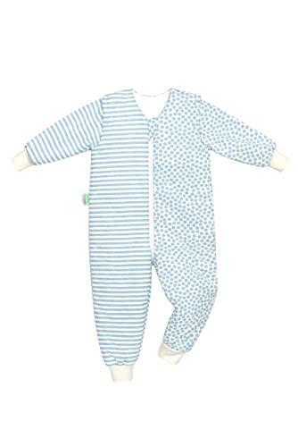 Set Odenwälder BabyNest Schlafsack mit Füße & Windel Blaubaer, Kinderschlafsack mit Füßen, Winterschlafsack mit Ärmel abknöpfbar, Schlafsäcke Baby, Größe:110/116, Design:stripes bleu
