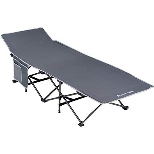 FLAMROSE折り畳み キャンプ レジャー ベンチ チェアーサマーベッド アウトドアベッド 折りたたみ ベッド コット耐荷重120kgグレー ベッド アウトドア 防災 収納 折りたたみ式ベッド (グレー)