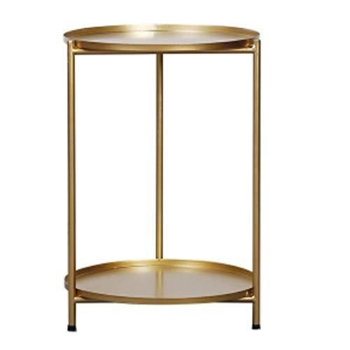 Zaixi Table d'appoint à 2 Niveaux, Table avec Plateaux Amovibles, Table Basse Ronde, Table de Chevet en Fer d'art , Table d'appoint latérale Forte capacité portante (Couleur : Or)