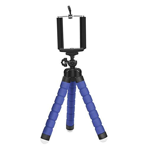 Serious Lamp Mini Trípode de Teléfono,Trípode Flexible Ajustable Soporte Teléfono Celular del Trípode de Viaje para iPhone Android, Clip Universal 360° Giratorio Soporte del Soporte de Cámara,Azul