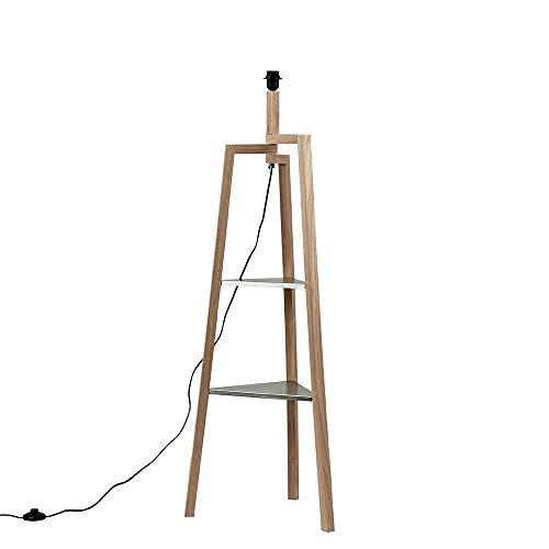 Modern Tripod Light Wood Floor Lamp Base with Storage Shelves
